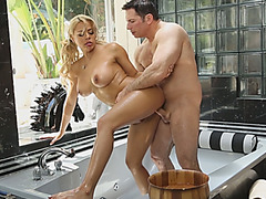 Busty porn star bathroom sex video bomb by the cameraman