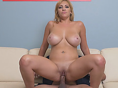 Big tits blonde babe fucking riding big boner