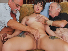 Two horny grandpas shares with Sydney Sky pussy