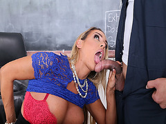 Hot teacher suck the Janitors big cock deep throat