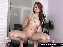 Brunette honey licks her piss off the desk