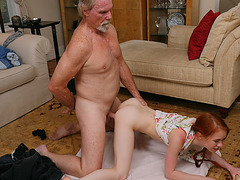 Tiny redhead Dolly Little bangs in her tight cunt