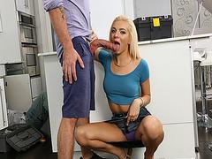 Kyle feeding Tiffany Watson his big cock in the kitchen