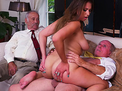 Busty brunette Ivy Rose loves fucking with old men