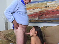 Brunette Michelle Martinez bangs with grandpa