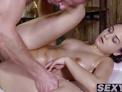 Busty brunette Anina Silk pounded by massage dudes big cock