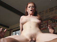 Busty redhead slut Penny Pax riding and sucking huge black dick