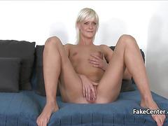Mature blonde fucks for model job