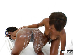 Peculiar lesbos fill up their huge asses with cream and blast it out