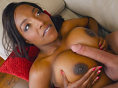 Black starlet with epic tits and ass swallows white dick