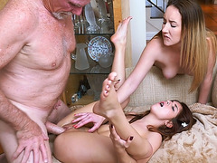 Teen BFFs Sally and Gigi enjoy threesome fuck