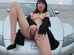 Teen Flashing Big Tits and Masturbating in Public