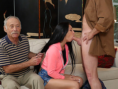 Hot babe Crystal Rae gags and fucks an aged dick