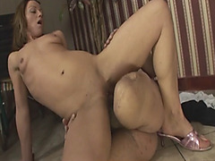 Handicapped stud bangs brunette slut on floor