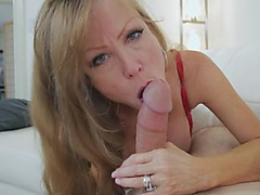 Sexy mommy seduces younger guy and gives him fantastic POV blowjob