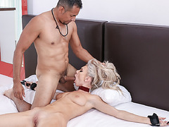 Molly leaving her pussy exposed and body helpless spread eagle on the bed