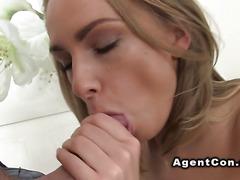 Beautiful eyed blonde bangs fake agent