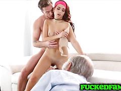 Teen Brooke Haze sofa fucking while grandpa sleeps