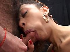 Slutty ebony whore shows her amazing blowjob sperkys in gangbang
