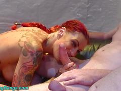 redhead tattooed Angel Sky gangbanged