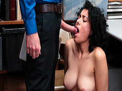 Maya Morena sucking a big loaded cock inside her mouth