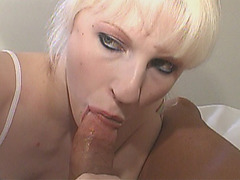 Blonde mature babe riding cock in hotel room