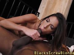 Slut jizzed by black cock