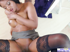 Slutty brunette babe Jasmine Webb fucks a rock hard cock