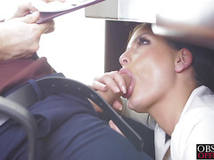Horny Annie Wolf pleases her naughty director in office