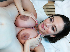 Big tittited milf Ariella gave her stepsun a nice blow and a good banging