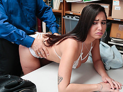 Karlee strips in front of the Lp officer and lets him bang her hairy pussy