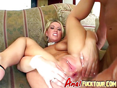 Hot blonde plays with pierced pussy while getting asshole devoured by big cock
