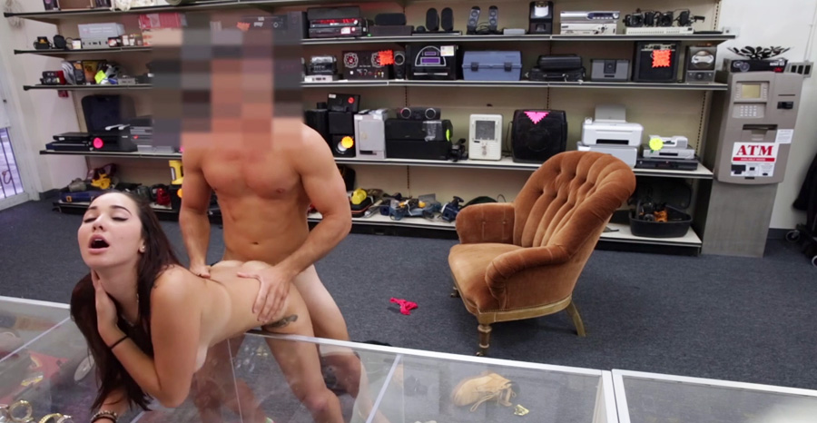 Pawn shop worker tempts blonde customer into naked