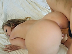 Hot babe is mad at her roommate so she decides to fucks her pussy with a strapon
