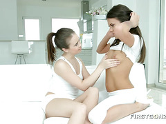 Sweet Lesbo Friends Play with Toy