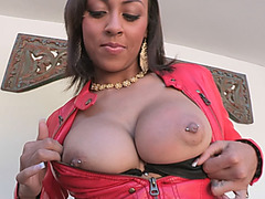 Big ass ebony slut rides big white cock and sucks it passionately