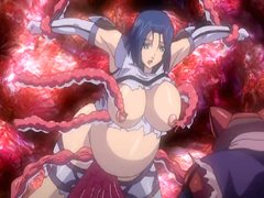 Pregnant hentai with bigboobs brutally drilled by red tentacles