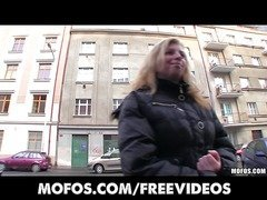 Shy blonde Czech girl agrees to take cash for a public suck & fuck