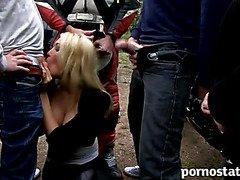 Blonde slut loves to suck off multiple cocks