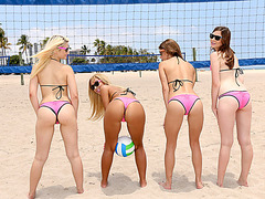 Volleyball never gets to wet and horny on summer when these teens are present