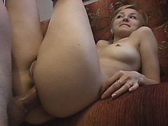 A sexy European blonde girl films her first anal sex scene and enjoys it a lot