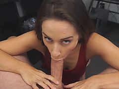 Cassidy Klein blows and rides big white cock in POV