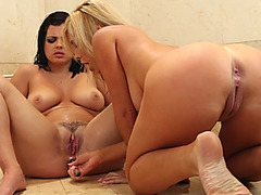 Lesbians Keisha And Tasha Put Dildos In Assholes