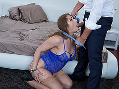 Sugar daddy feeds Skylar Snow his candy cock