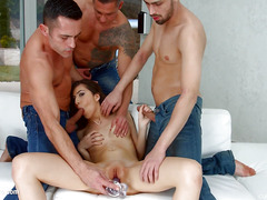 Bukkake blowbang group scene with Anya Krey by Cum For Cover