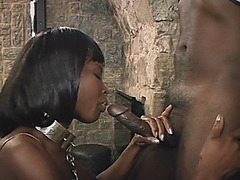 Hot ebony cockgobbler getting her wet pussy smashed