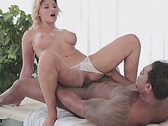 Busty masseuse Anna Polina riding black cock with her panties on