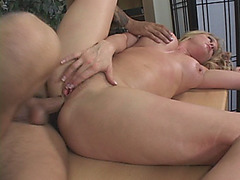 A very hot busty blonde cougar gets pussy and ass fucked hard in the office