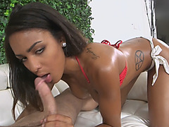 Stunning Ebony Nicole Bexley Oils Up Her Big Booty And Starts Riding White Dick