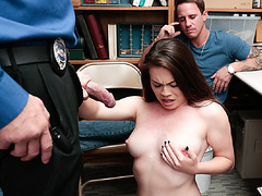 Lp officer disciplined Veronica by banging and squirting his load on her
